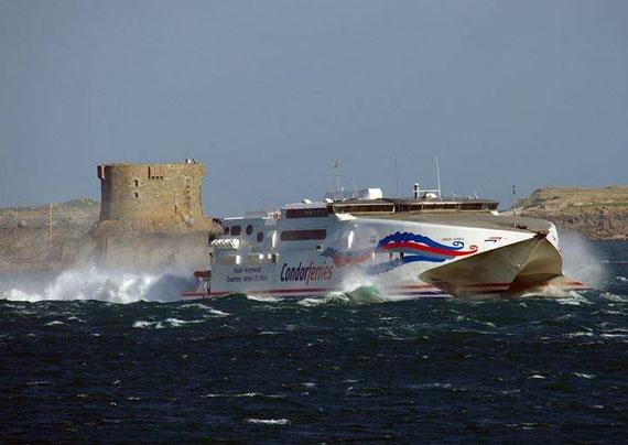 Condor Express heading to Guernsey in rough seas.