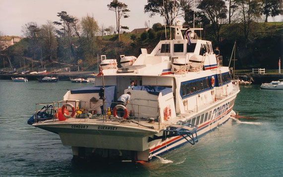 Condor 7 departing Weymouth, bound to Guernsey.