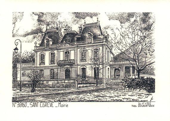 Ci-dessus : Mairie de Saint-Egrève - gravure à l'encre de chine -