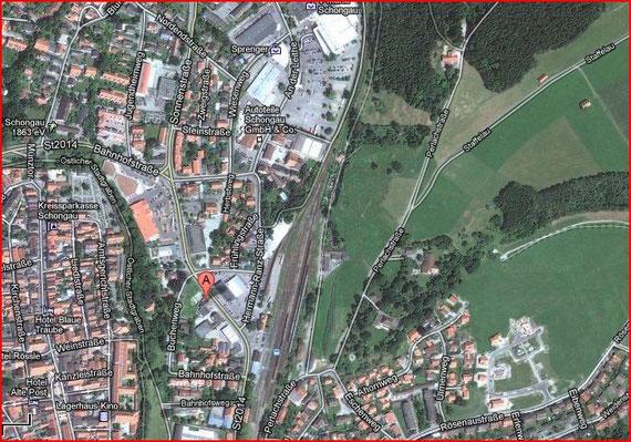 Luftaufnahme, Schongau und Flugradius der Wutas von Jannis