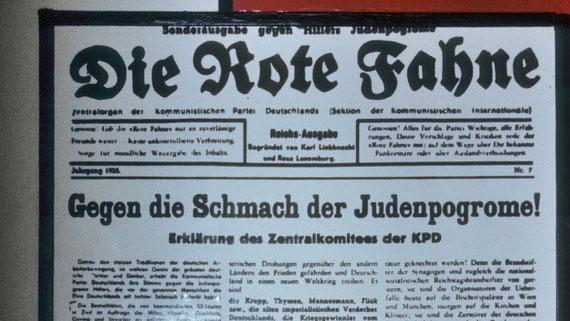 """""""Contre la honte des progroms anti-Juifs!"""" titrait Die Rote Fahne, l'organe du Parti Communiste d'Allemagne, dans son édition spéciale de novembre 1938  © Michel Aymerich"""