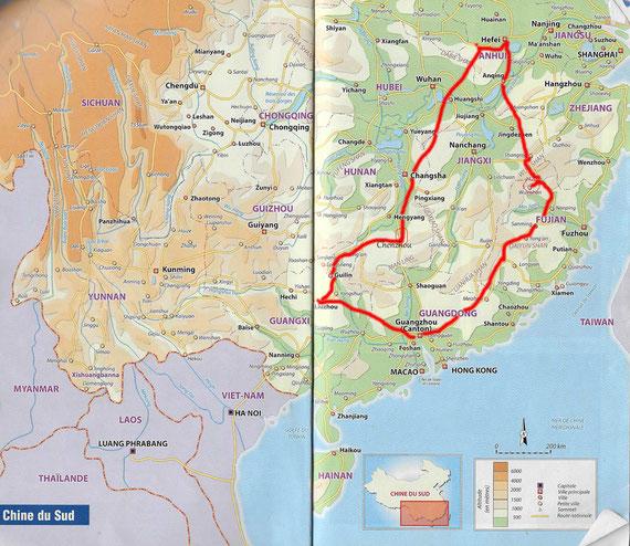 """Itinéraire parcouru. en 2016.. Carte issue du guide de voyage """"Chine du Sud"""", Ed. Le Petit Futé."""
