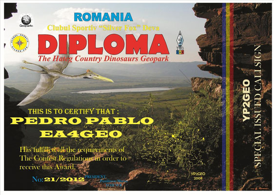 Diploma THE HATEG COUNTRY DINOSAURS GEOPARK YOFF - 193, YP2GEO -ROMANIA-