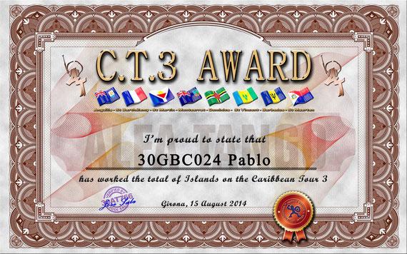 Diploma por hacer los 9 comunicados del CARIBBEAN TOUR 2014 ( 30AT766 & 348AT066)