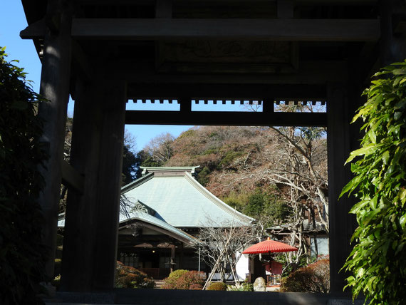 海蔵寺山門から本堂(龍護殿)をみる 12月