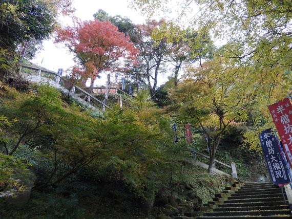 半僧坊への急階段と紅葉