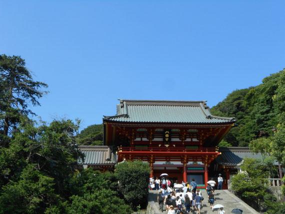 参道からみる、鶴岡八幡宮、本宮宝物殿