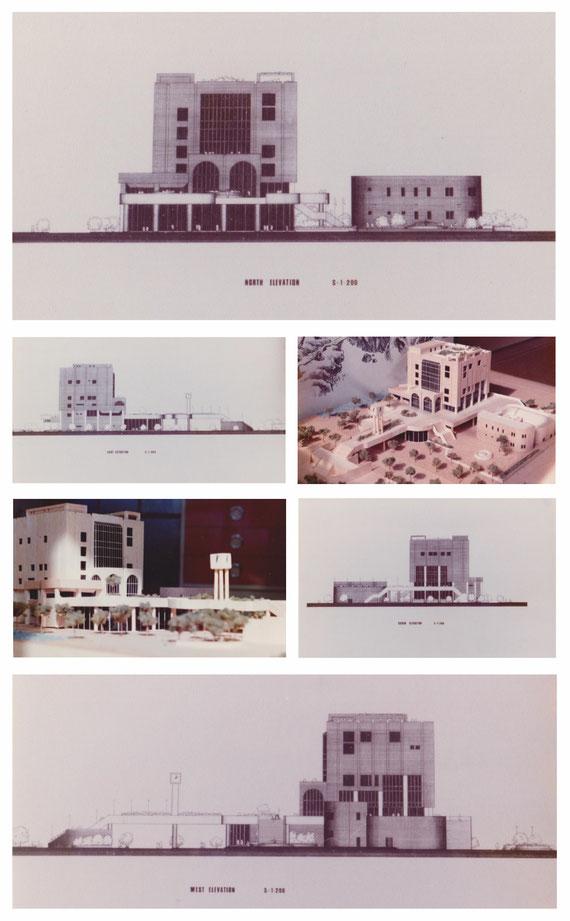 ディプロマ設計案「市民プラザ」 立面図・模型