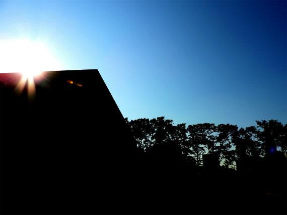 本館に日が昇りつつあります。逆光