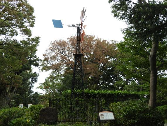 跡地に立つ多翼型風車