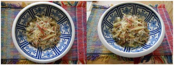 茗荷と縮緬雑魚の胡麻油和え