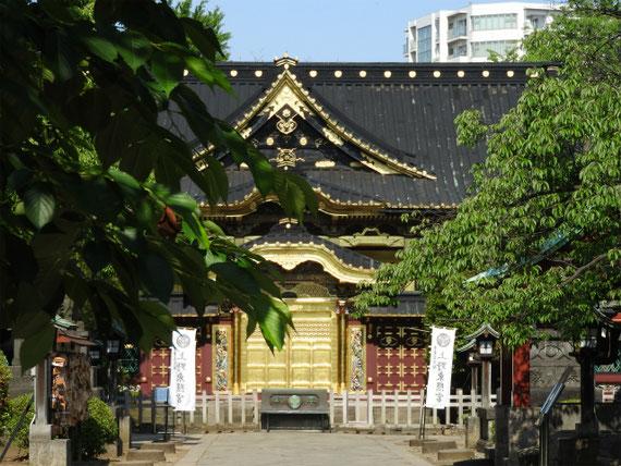 社殿、金色殿とも呼ばれています。手前が唐門です。
