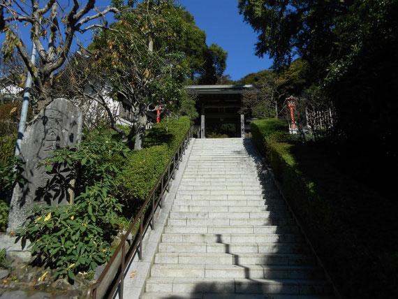 神社への高い石段を登ります