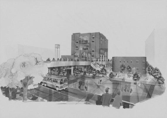 ディプロマ設計案「市民プラザ」 外観