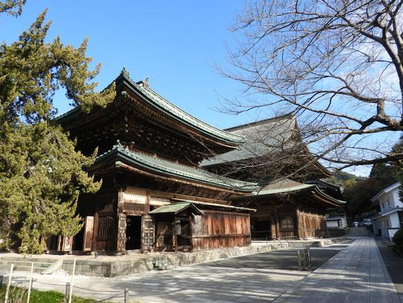 参道右からみる、建長寺仏殿と法堂