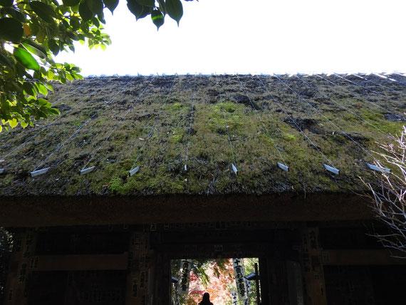 仁王門の茅葺屋根