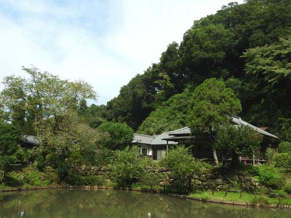 大覚池と回春院本堂