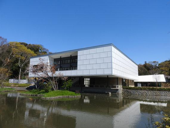平家池から旧神奈川県立近代美術館をみる