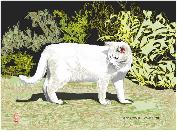 山手ブラフ99ガーデンのノラ猫 オートシェイプ画