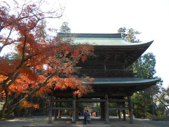 紅葉の円覚寺山門。 正面の二人のカップルが映ってしまいました。しょうがないね。
