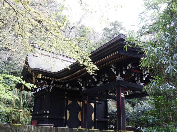 白旗神社庭園側から内部を観る