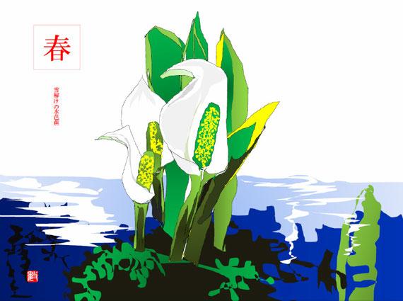 短歌「少年の記憶」の挿し絵 水芭蕉第2案(みずばしょう) 2018/02/01制作