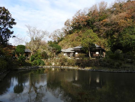 大覚池からみる、回春院本堂と山門