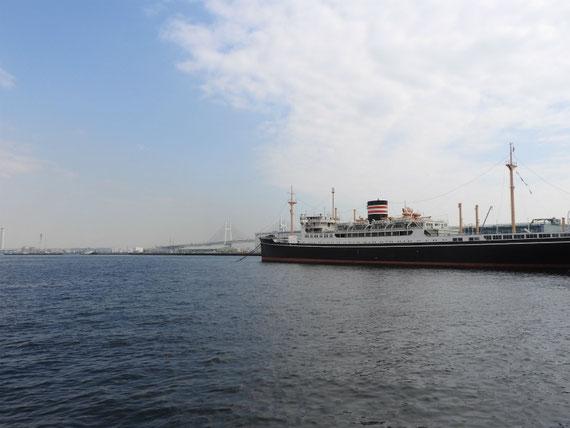 海から日本郵船氷川丸