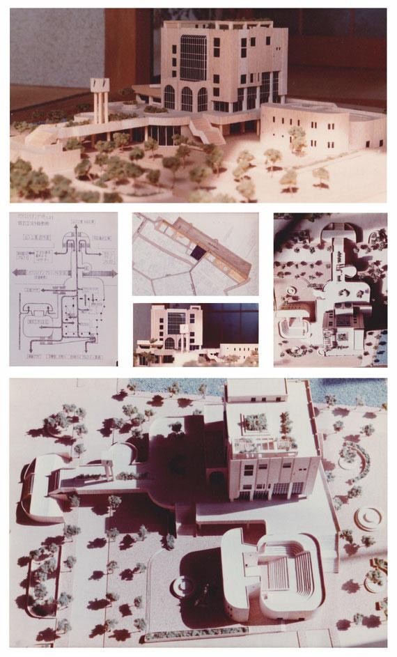 ディプロマ設計案「市民プラザ」 動線・配置模型