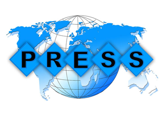 Weltkugel mit Presseemblem