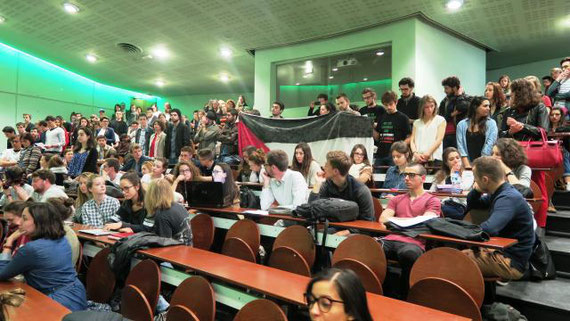 De nombreux étudiants ont désapprouvé la venue à Sciences po Rennes de l'ambassadrice d'Israël. | (Photo : Ouest-France)
