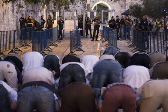 16 juillet 2017. Des fidèles musulmans palestiniens ont refusé d'entrer dans l'enceinte de la mosquée al-Aqsa en raison des barrières imposées par les Israéliens et sont allés prier à l'entrée de la porte des Lions. (Photo : Oren Ziv ActiveStills)
