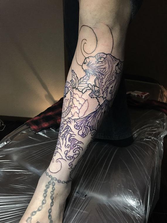 虎,牡丹,刺青