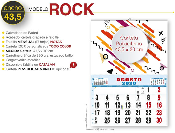 Calendario de pared publicitario plegable 3 meses vista con faldilla internacional