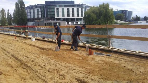 Bau der Terrasse und Bootsanleger Hafen 1 in der Autostadt 2019