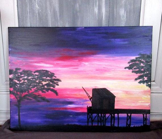 grand-tableau-paysage-ocean-coucher de soleil-peinture-marine-artiste-peintre-carrelet-royan-audrey-chal
