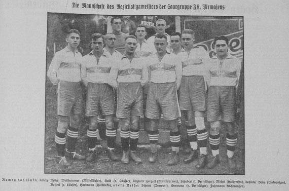 FK Pirmasens - Meister der Bezirksliga Rhein-Saar, Gruppe Saar 1930/31