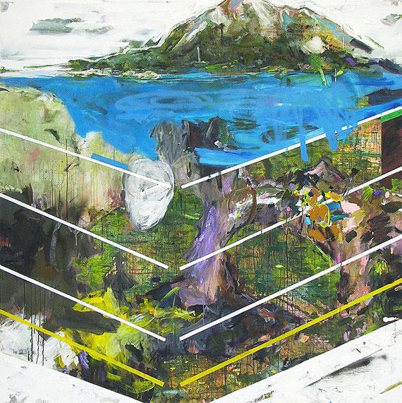 Martin Mohr  Quadratur der Natur  Acryl, Lack und Öl auf Baumwolle   220 x 220 cm