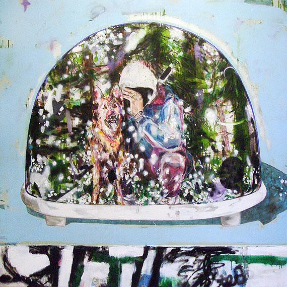 Martin Mohr  Eiszeit  Acryl, Lack und Öl auf Baumwolle   220 x 220 cm