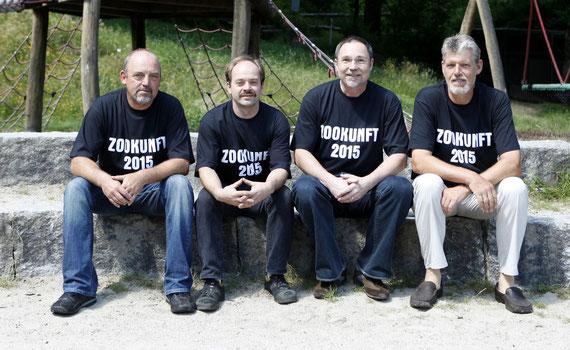 Der neu gewählte Vorstand des Freundeskreis Schwarzwaldzoo im Juli 2011. V.l.n.r.: Andreas Fröhlich, Ralf Volk, Uli Weissbrod, Peter Hoch. Foto: Gabriele Zahn
