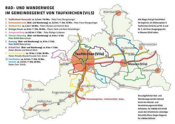 Rad- und Gehwege im Gemeindegebiet Taufkirchen
