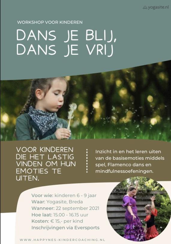 Dans je blij dans je vrij workshop voor kinderen van Happy-Nes Kindercoaching