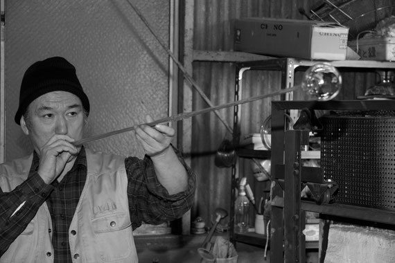 Mr Shinohara, glass blower