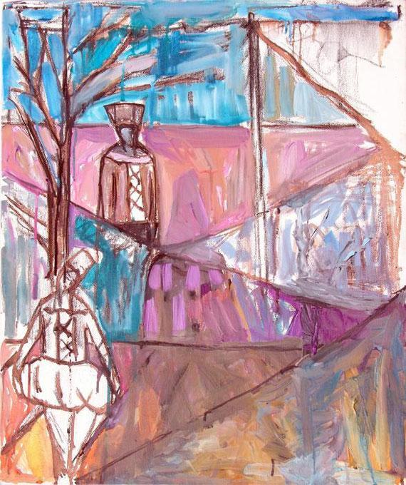 Mauro Kronstadiano Fiore - Un amour d'automne - tecnica mista su tela - 50 X 60
