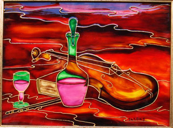 Sargas (Mario Grassa) - Paganini - vitrage su legno - 24 X 18 - 2009