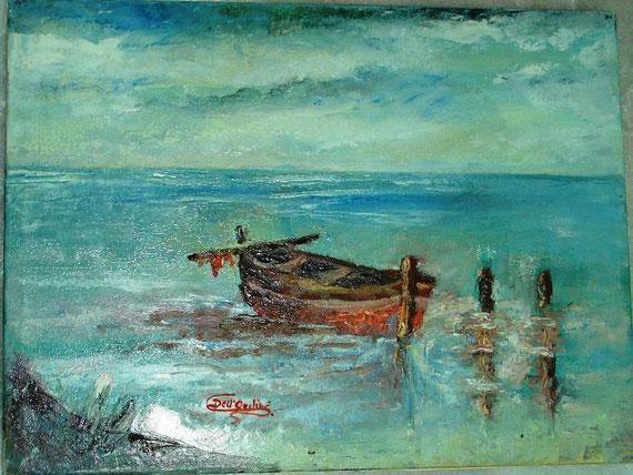 Barca a riposo - spatola e olio su tela - 40 X 30