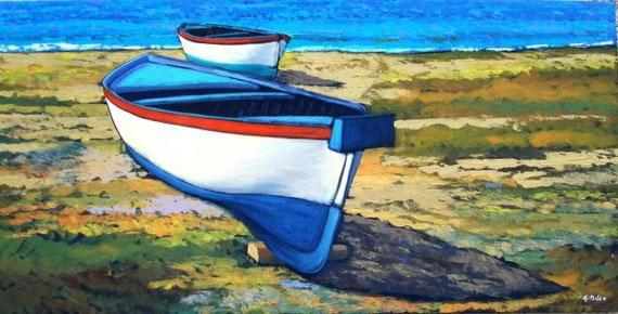 Mileo Gianni - Boats - olio tela - 100 x 50 - 2007