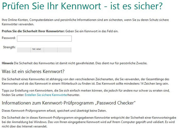 Microsoft Passwortprüfung