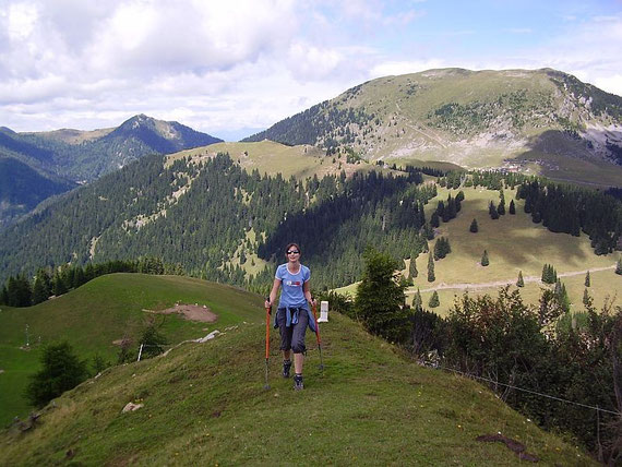 Die letzten Meter zum Gipfel, im Hintergrund Oisternig (rechts) und Starhand (links)