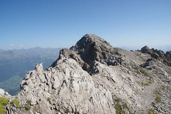 Der Blick von der Linderhütte zum nahen Gipfel